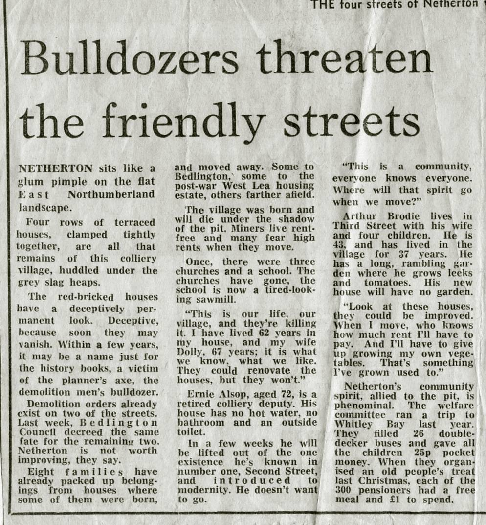 Bulldozers threaten the friendly streets
