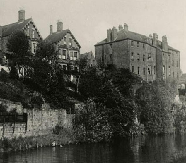 Morpeth Workhouse viewed from the River Wansbeck at High Stanners, Morpeth.JPG