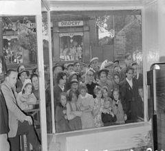 crowd looking into the Redifusion Shop window in the East End of Bedlington. 1953.JPG