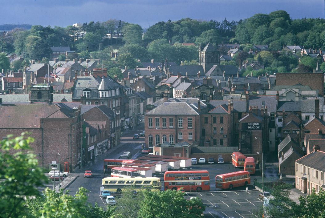 Morpeth from the south looking over the bus station, June 1972.JPG