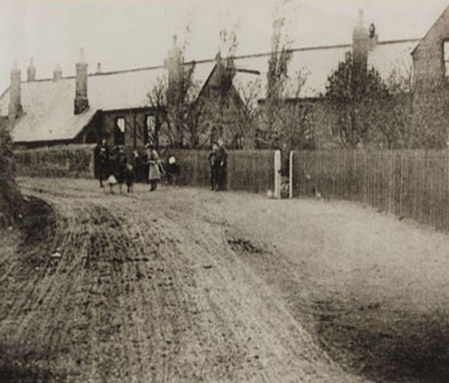 earliest known photograph of Bothal school School built in 1873, demolished c. 1963..JPG