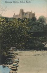 postcard view of stepping stones at Bothal castle 1940.JPG