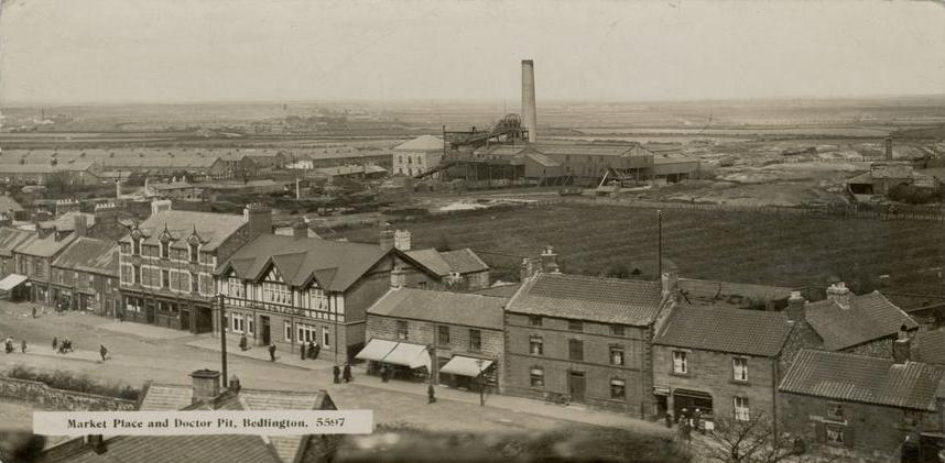 Bedlington market place and colliery rows, Doctor pit 1930.JPG