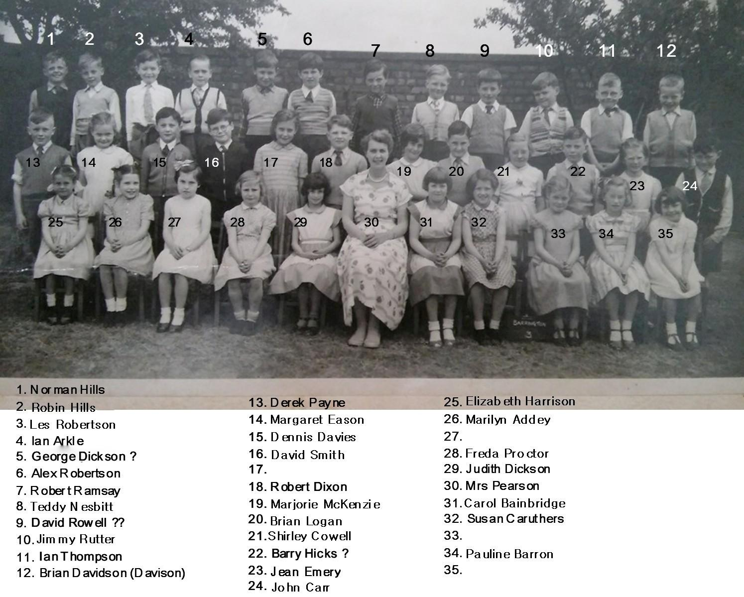 Barrington County Primary Class3 c1956 with names