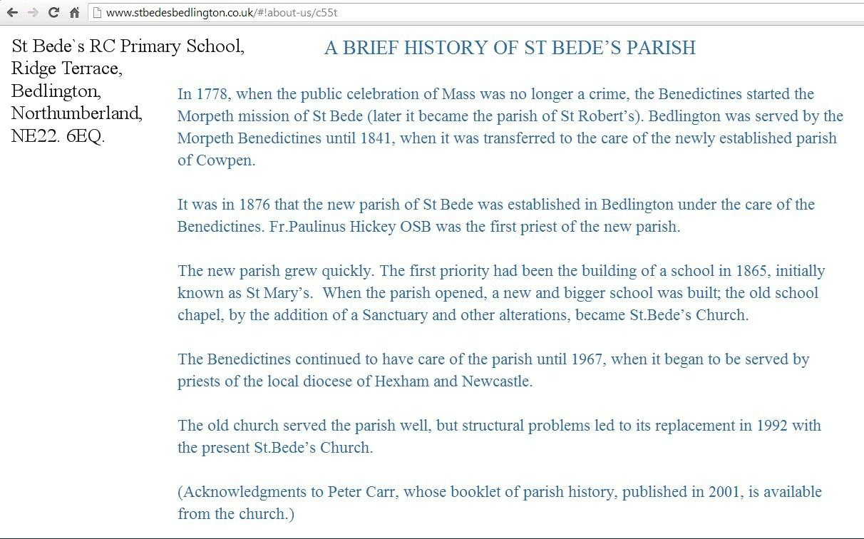 Brief history of St Bede's, Bedlington.