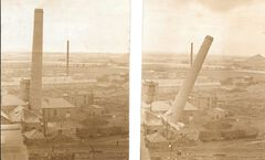 Dr Pit Chimneys demolition 10th August 1952. Telephone row, Cross Row and brickyard in background.jpg