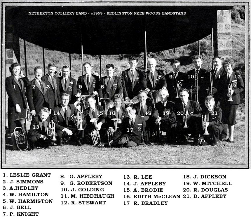 Netherton Coliery band c1959 Free Woods with names.jpg