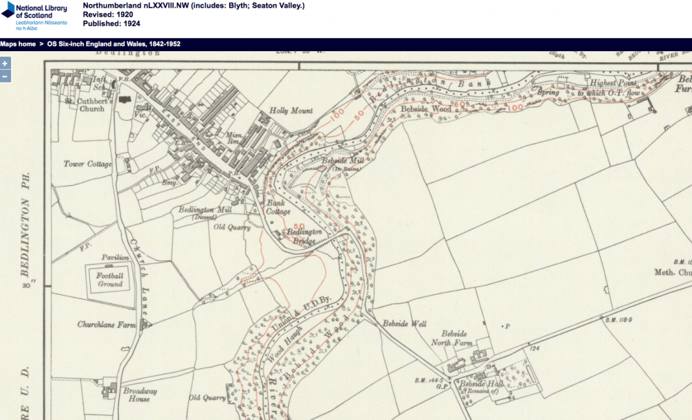 Bedlington Map 1920 church lane.png