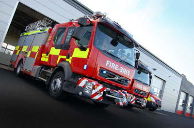 Firefighters rescue man as they travel to training course
