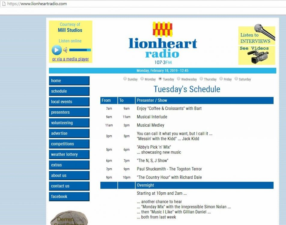 Lionheart radio Tuesday schedule.jpg