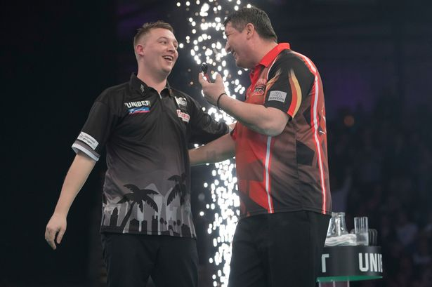 WATCH the moment Chris Dobey walked on to Local Hero at the Premier League darts in Newcastle